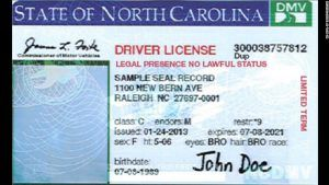 NC DACA Driver's License with Legal Presence no Lawful Status message