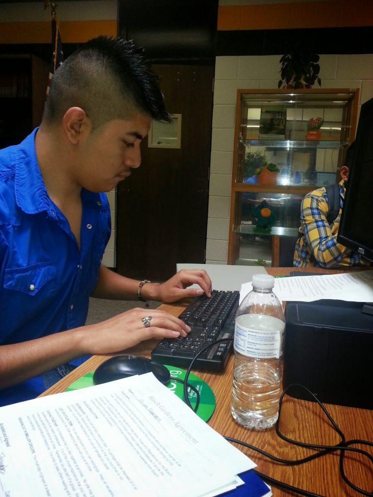 Oscar studying at Hobbon High School 2013