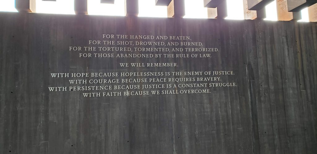 Quote from the National Memorial for Peace and Justice