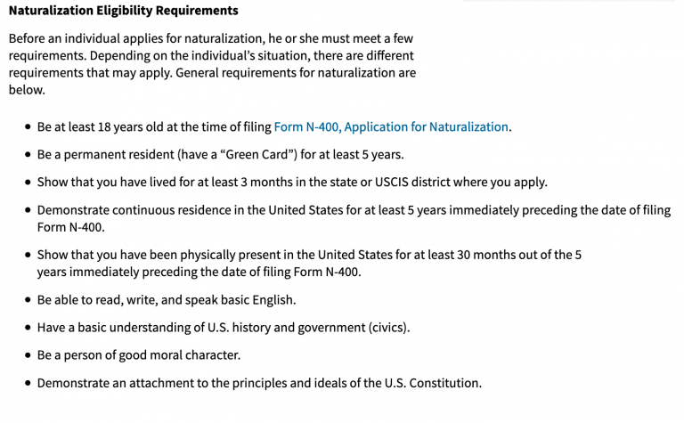 Naturalization Requirements from USCIS Website