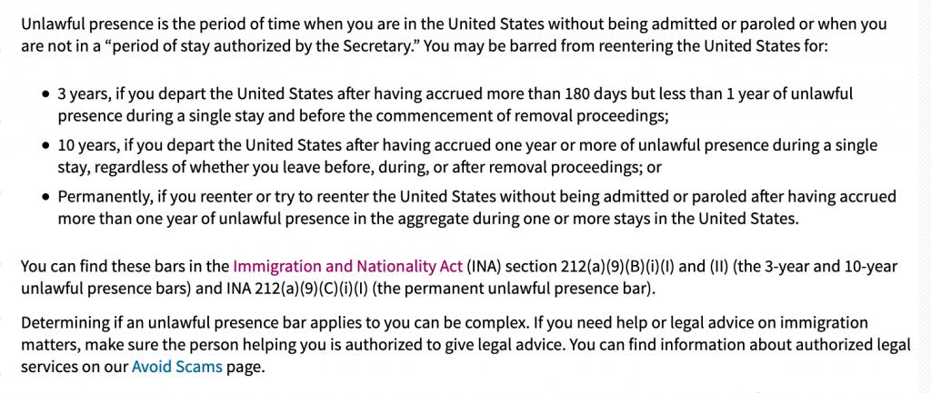Unlawful Presence Bar from Reentry