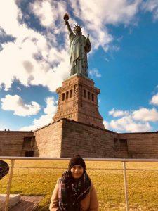 Esti by the Statue of Liberty